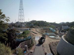 浦郷寮裏山から見える再開発エリア