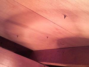 屋根裏から釘が、要注意