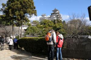 外国の観光客、デジカメ画像チェック