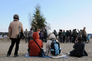早い人は砂浜に座っています