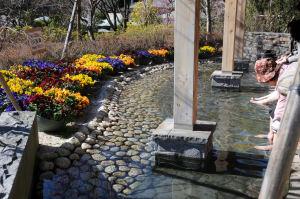 韓国庭園にある足湯