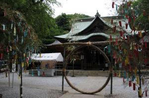 「夏越の大祓」で「茅の輪」が飾られていました