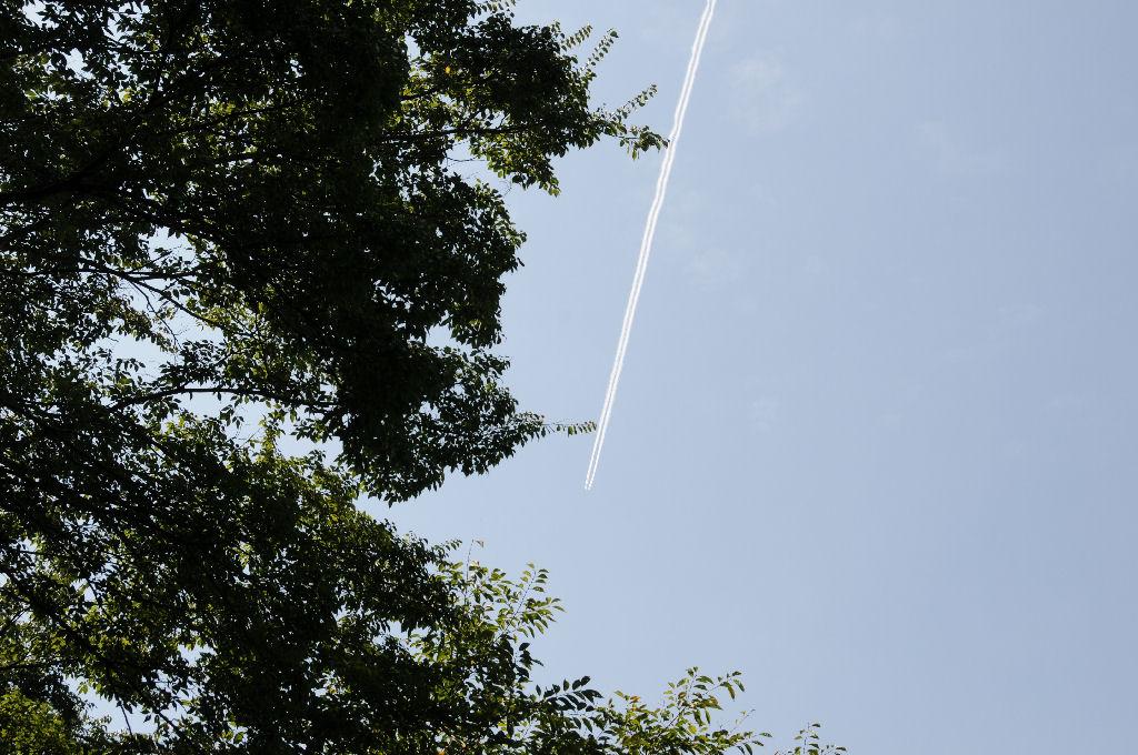 上空には飛行機雲