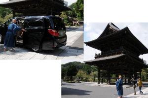 車を送る僧侶