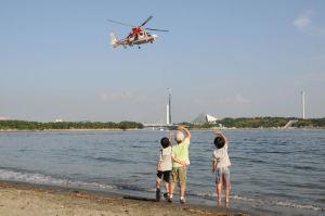 旋回し海岸線沿いに飛んできました