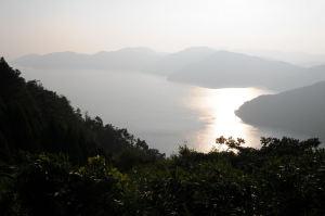 琵琶湖の湖面が黄金色に