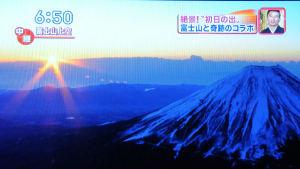 富士山上空「初日の出」の中継