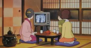 祖母の部屋でテレビを見ていた