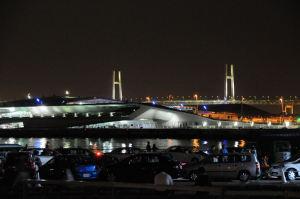 ライトアップされた大桟橋