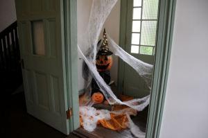 旧玄関にはクモの巣などが