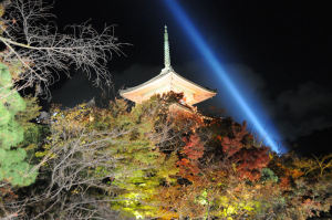 ライトアップされた清水寺三重塔