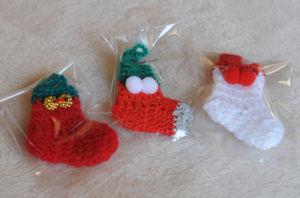 手編みのミニ靴下