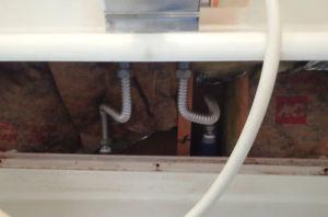 水栓金具のカバーを外したところ
