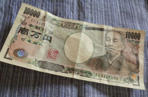 1万円札を洗いました