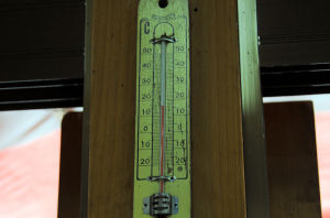 休憩所内の温度計