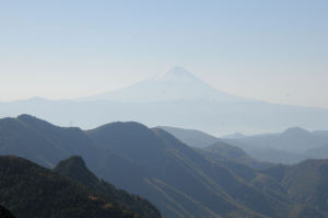 南に位置する富士山