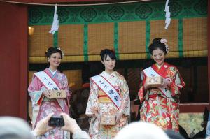舞殿南側にはミス鎌倉