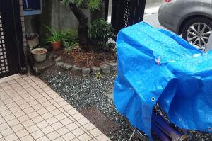 家の周りは雨