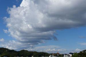 雲が並んで伸びています