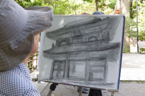 山門をパステル画で描かれています