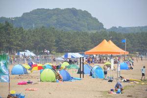 色とりどりのテントが砂浜を埋めています