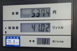 ガソリンが1か月前より10円安い
