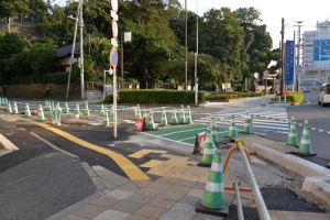 瀬戸神社前の歩道工事