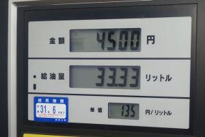 ガソリン価格値下がり傾向