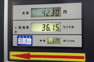 ガソリン価格 2週間前と比べて