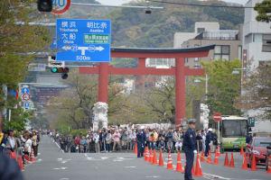 鎌倉まつりのパレードを二の鳥居前で