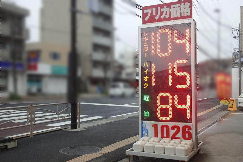 ガソリン価格急騰かな