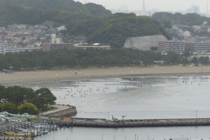 連休中潮干狩りで賑わった海の公園