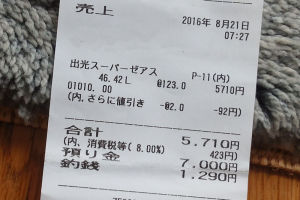 日曜日に給油した際のハイオク価格は123円