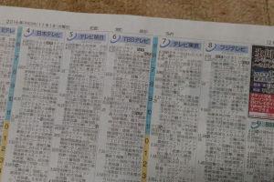 11/1(火)朝刊のテレビ欄