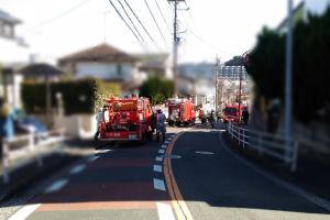 消防車が何台もみえます