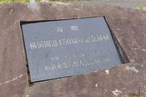 横浜開港150周年の記念植樹プレート