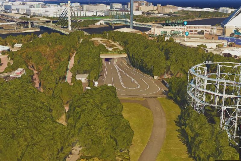 八景島島内へ車両が入るトンネルまで