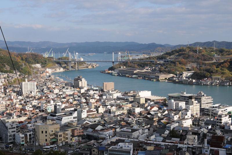 新尾道大橋と下に山陽本線