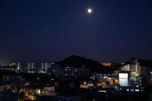 南東の空にほぼ満月が出ています