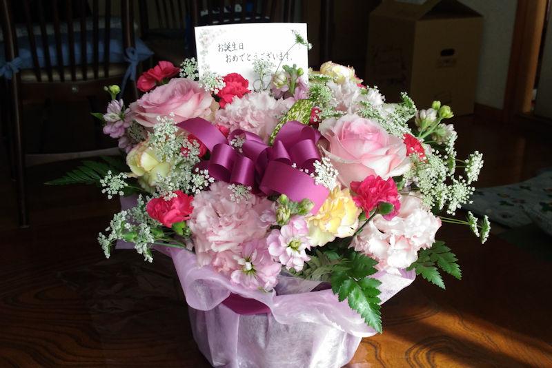 お祝いの花が届きました