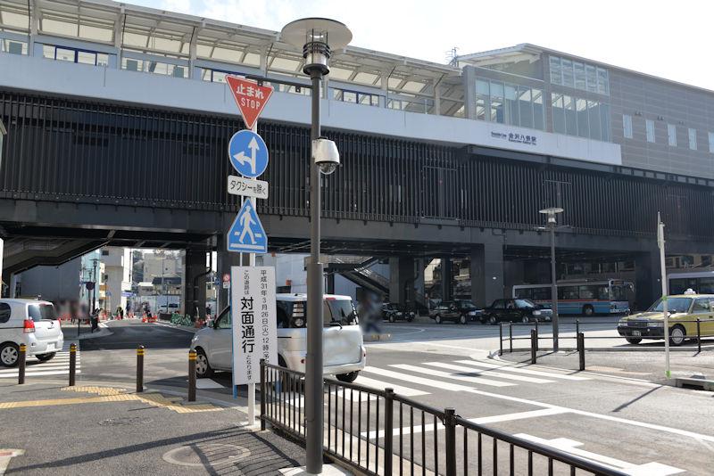 一般車は駅前ロータリーへ右折禁止