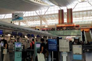 ユナイテッド航空の受付カウンター