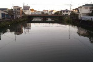 侍従川は朝陽が反射し