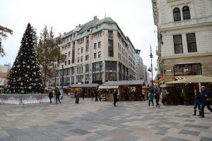 広場にはクリスマスツリーやお店がみえます