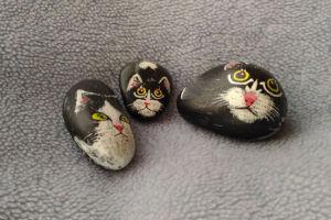 石に猫の絵を描いて