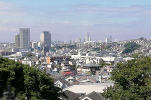 霊園から見た横浜市街の風景