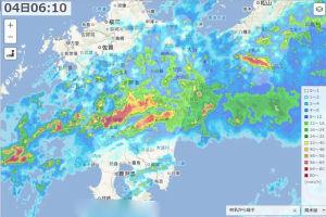 6時10分の雨雲レーダー