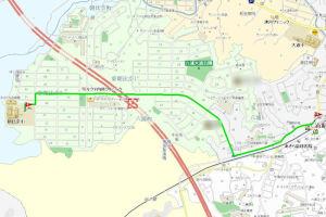 六浦駅から朝比奈小までは直線で約1.5Km