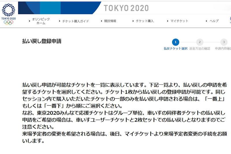 東京2020チケット払い戻し申請