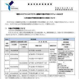 横浜市ワクチン接種の対応発表